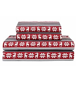 Elite Home Products Winter Nights Deer Red Cotton Flannel Sheet Set