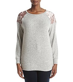 Pink Rose Plus Size Crushed Velvet Detail Sweatshirt