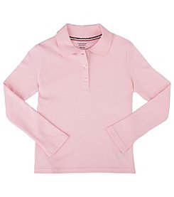 French Toast® Girls' 2T-4T Long Sleeve Interlock Knit Polo with Picot Collar