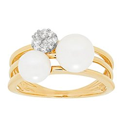 14K Yellow Gold Cultured Freshwater Pearl And 0.17 Ct. T.W. Diamond Ring