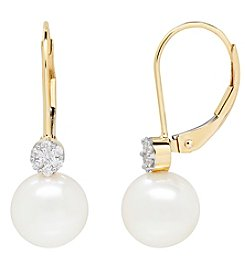14K Yellow Gold Cultured Freshwater Pearl And 0.11 Ct. T.W. Diamond Earrings