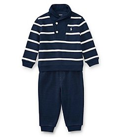 Ralph Lauren® Baby Boys' 3M-24M 2 Piece Striped Sweater and Pants Set