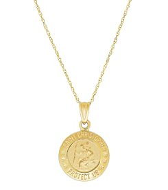 14K Yellow Gold St.Christopher Medal Pendant