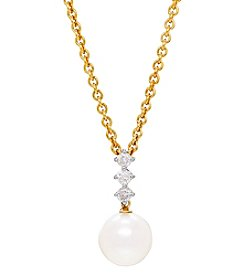 14K Yellow Gold Cultured Freshwater Pearl And 0.19 Ct. T.W. Diamond Pendant Necklace