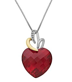 Sterling SIlver And 14K Yellow Gold Lab Created Ruby Heart And .0007 Ct. T.W. Diamond Pendant
