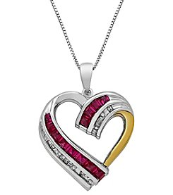 Sterling Silver And 14K Yellow Gold Lab Created Ruby Heart Pendant with 0.04 Ct. T.W. Diamond Accents