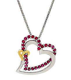 Sterling Silver and 14K Yellow Gold Lab Created Ruby Heart Pendant