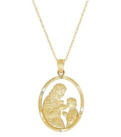 14K Yellow Gold Polished Diamond Cut Oval First Communion Pendant