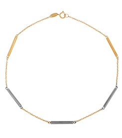 14K Gold Two Tone Bars Bracelet