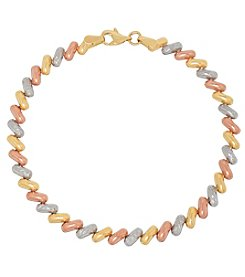 14K Gold Tri Color Polished Diamond Cut San Marco Bracelet
