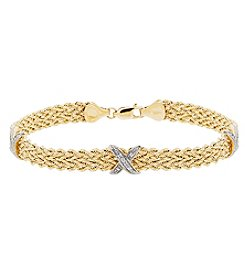 14K Yellow Gold Polished Rope Triple X Bracelet