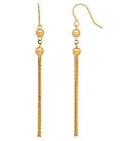 14K Yellow Gold Double Bead with Tassle Drop Earrings