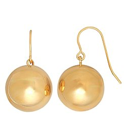 14K Yellow Gold Polished Large Bead Dangle Earrings