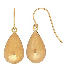 14K Yellow Gold Polished Diamond Cut Teardrop Earrings