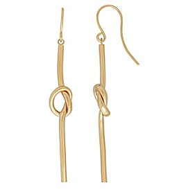 14K Yellow Gold Polished Knot Center Slider Dangle Earrings