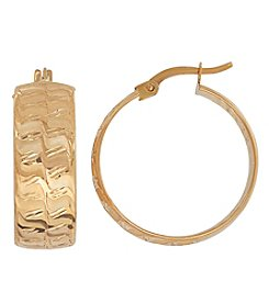 14K Yellow Gold Martellato Front with Polished Back Sheet Hoop Earrings