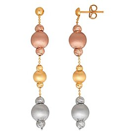 14K Gold Tri Color Polished Diamond Cut Beaded Drop Earrings