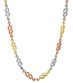 14K Tri-Color Polished Figaro 8 Link Necklace