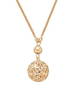 14K Yellow Gold Mesh Bead Pendant Necklace
