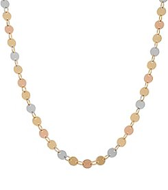14K Tri Color Polished Disc Link Necklace