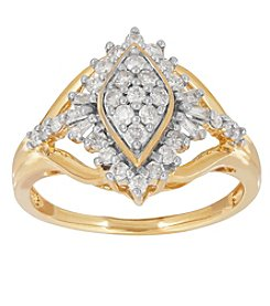 10K Yellow Gold 0.50 Ct. T.W. Diamond Cluster Ring