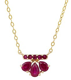 10K Yellow Gold Ruby Necklace