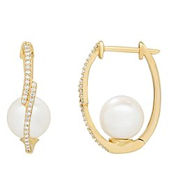 10K Yellow Gold Cultured Freshwater Pearl And 0.22 Ct. T.W. Diamond Earrings