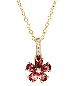 10K Yellow Gold Pink Tourmaline And 0.03 Ct. T.W. Flower Pendant Necklace
