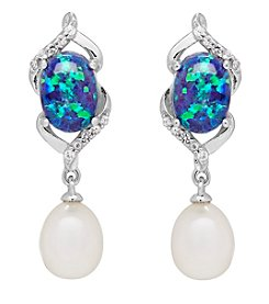 Sterling Silver Cultured Freshwater Pearl And Lab Created Blue Opal Earrings