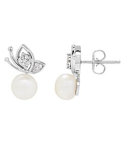 Sterling Silver Cultred Freshwater Pearl And .08 Ct. T.W. Diamond Accent Butterfly Earrings