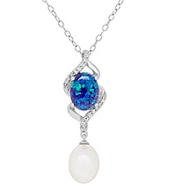 Sterling Silver Freshwater Pearl and Created Blue Opal Pendant
