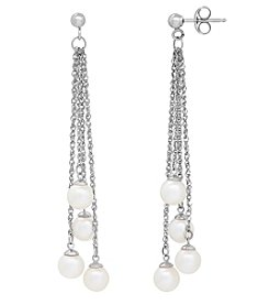 Sterling Silver Freshwater Pearl Multi-Strand Dangle Earrings