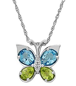 Sterling Silver Peridot and Swiss Blue Topaz Butterfly Pendant