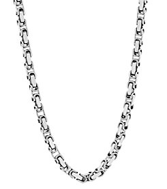 Stainless Steel Polished Rectangle Link Chain Necklace