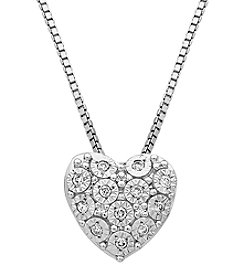 Sterling Silver 0.08 Ct. T.W.  Diamond Heart Pendant