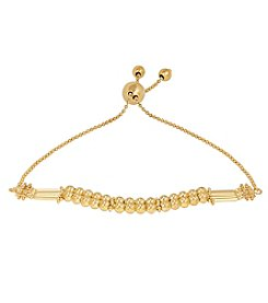 10K Yellow Gold Polished Fancy Beaded Bolo Bracelet