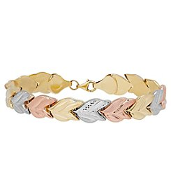 10K Gold Diamond Cut Leaf Links Bracelet