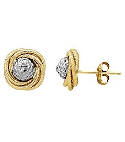 10K Yellow Gold Polished Diamond Cut Love Knot Earrings