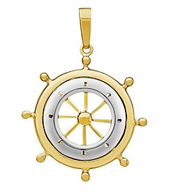 10K Yellow Gold Polished Ship Wheel Pendant Necklace