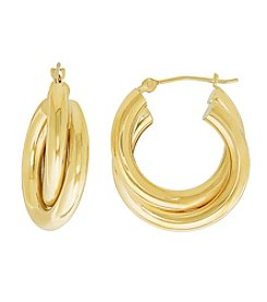 14K Yellow Gold Polished Double Tube Hoop Earrings