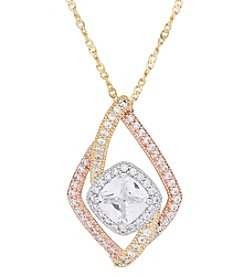 Gold Over Silver Polished Cubic Zirconia Tricolor Square Woven Strands Pendant