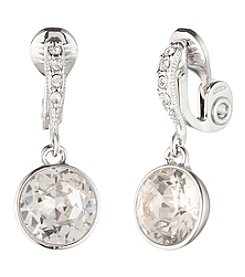 Givenchy® Silvertone Crystal Drop Clip Earrings