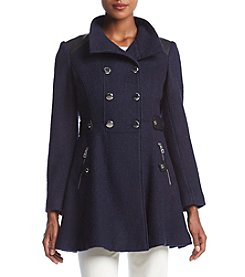 GUESS Double Breated Fit & Flare Coat