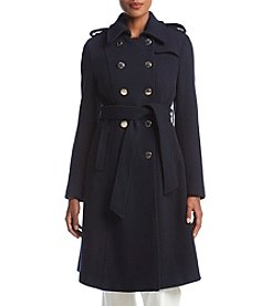Ivanka Trump® Navy Military Wrap Coat With Belt