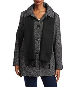 London Fog® Plus Size Tweed Coat With Scarf