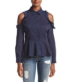 Cupio Cold Shoulder Peplum Blouse