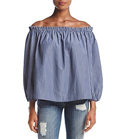 Adiva Vertical Pinstripe Off The Shoulder Top
