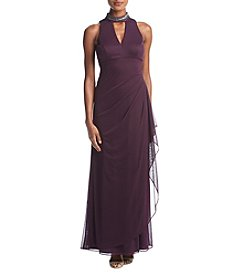 Xscape Side Drape Beaded Choker Neckline Dress