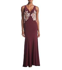 Xscape Floral Embroidered Sweetheart Neckline Gown