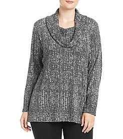 AGB® Plus Size Cowl Neck Printed Top